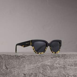 Burberry Two-tone Square Frame Sunglasses, Black