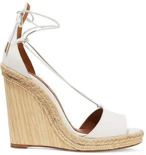 Aquazzura Alexa Jute-Trimmed Leather Wedge Sandals