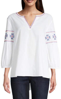 ST. JOHN'S BAY Womens Split Crew Neck 3/4 Sleeve Embroidered Blouse