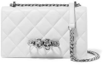Alexander McQueen Jewelled Satchel Embellished Quilted Leather Shoulder Bag - White