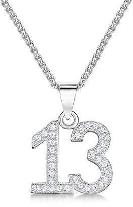 Jo for Girls 13 Number Pendant in Sterling Silver and Cubic Zirconia on a Chain of Length 35-40cm46