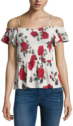 Almost Famous Short Sleeve Straight Neck Blouse-Juniors