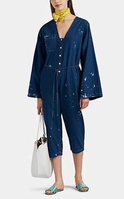 Raquel Allegra Women's Paint-Splattered Oxford Cloth Boilersuit - Blue