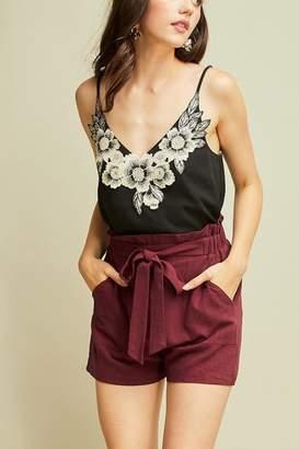 Entro Burgundy Linen Shorts
