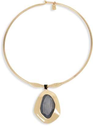 Robert Lee Morris Soho Grey Mood Goldtone Sculptural Pendant Collar Necklace
