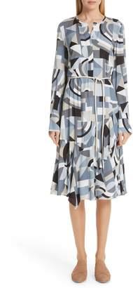 Lafayette 148 New York Paris Genteel Geometry Crepe Dress