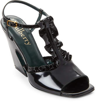 Mulberry Black Ruffled Leather Flare Heel Sandals