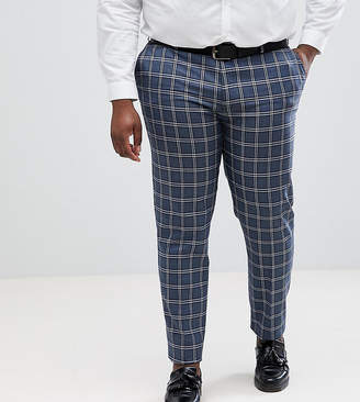 Asos Design DESIGN Plus Wedding Skinny Suit Trousers In Blue And White Check
