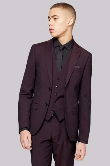 Moss Bros Skinny Fit Burgundy Suit