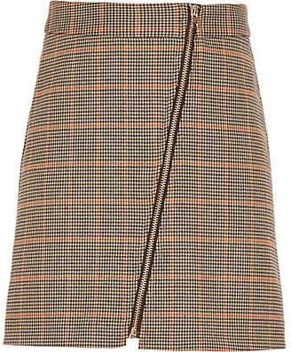 River Island Girls brown check A-line skirt