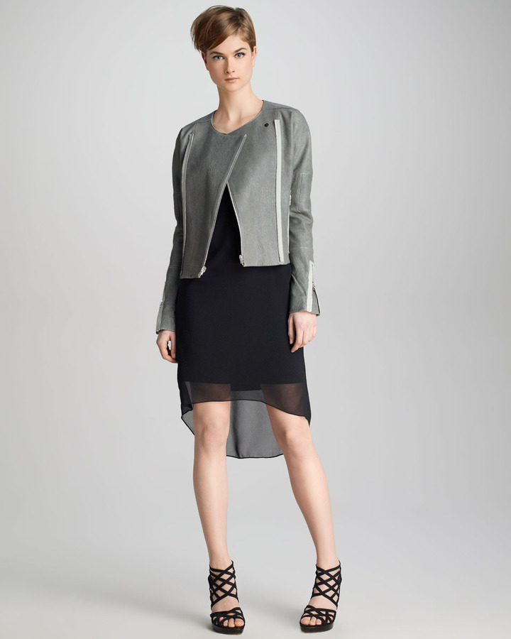 J Brand Ready to Wear Marisa Sheer-Overlay Dress, Black