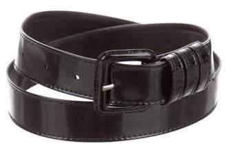 a91db79adf1 Saint Laurent Patent Leather Buckle Belt