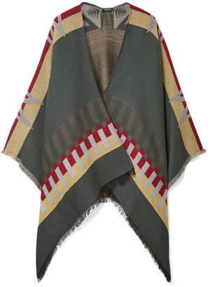 Etro Fringed Wool-blend Jacquard Cape - Army green