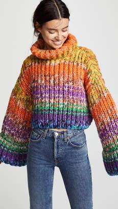 Freddy Novis Cropped Hand Knit Kimono Sweater