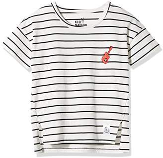 Kid Nation Girls' Round-Neck High/Low Tunic T-Shirt with Embroidered Patch White & Black Stripe ...