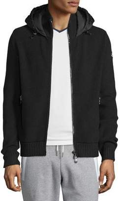 Moncler Puffer-Panel Front-Zip Sweater, Black $760 thestylecure.com