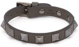Valentino Rockstud Embellished Leather Bracelet - Mens - Khaki