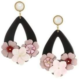 Lizzie Fortunato Jasmine 18K Goldplated 12mm Round Pearl & Flower Teardrop Earrings
