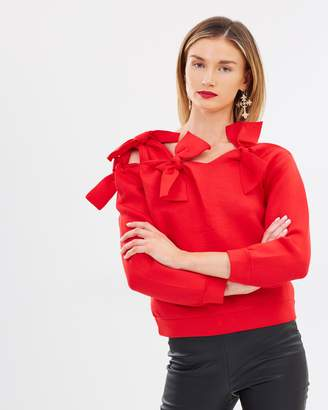 Bardot Bow Scuba Sweatshirt