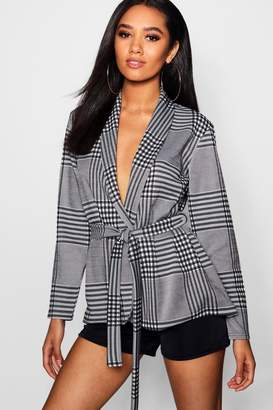 boohoo Petite Check Belted Duster Jacket