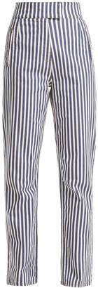 ROCKINS Striped high-rise straight-leg trousers