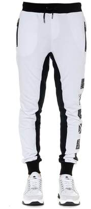 Frankie Morello Printed Jogging Pants In White And Black Cotton
