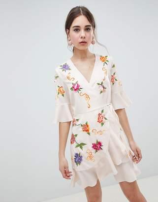 Asos Design DESIGN Embroidered Wrap Mini Dress