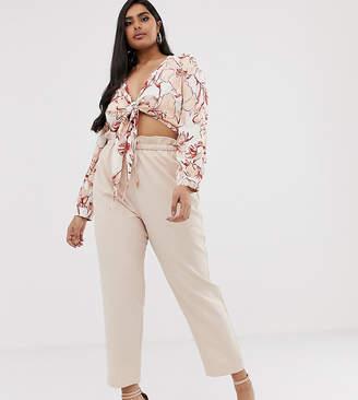 Lasula Plus paper bag waist trouser in pink