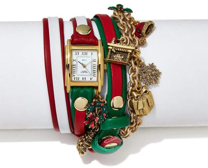 La Mer Goldtone Dial Red, Green and White Leather Strap Christmas Charm Wrap-Design Watch