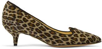 Charlotte Olympia Taupe Velvet Leopard Kitten Heels