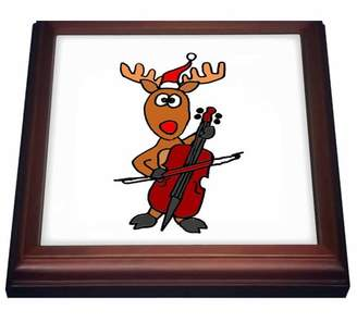 3dRose Fun Rudolph Red Nosed Reindeer Playing the Cello - Trivet with Ceramic Tile, 8 by 8-inch