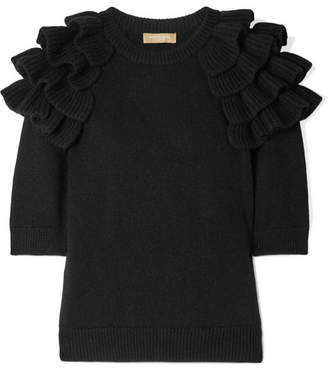Michael Kors Starlet Ruffled Cashmere Sweater - Black