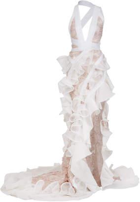 Maticevski Mantilla Ruffled Asymmetric Lace Gown