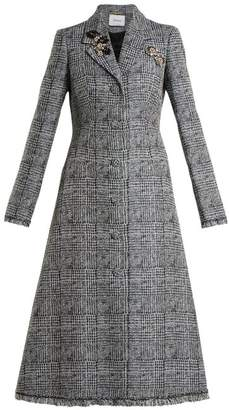 Erdem Dominique Crystal Embellished Checked Coat - Womens - Grey