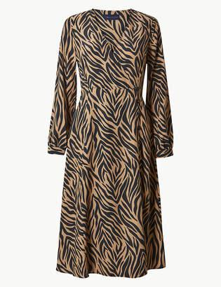 Marks and Spencer PETITE Animal Print Wrap Midi Dress