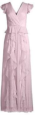 BCBGMAXAZRIA Women's Ruffled Lace& Tulle Gown