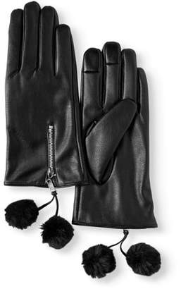 Time and Tru Women's PU Leather Glove With Faux Fur Pom Poms