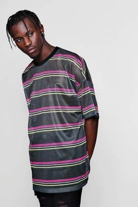 boohoo Oversized Neon Stripe Mesh Tee