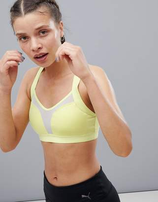 Puma Curl Mesh Panel Bra In Lime