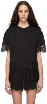 McQ Black Slouchy Lace T-Shirt