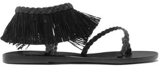 Ancient Greek Sandals Manto Fringed Raffia And Braided Leather Sandals - Black