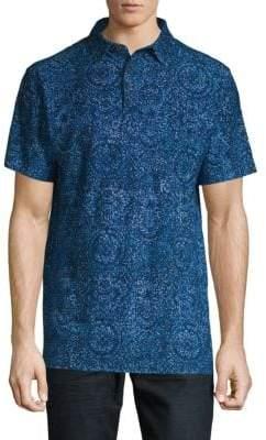Saks Fifth Avenue BLACK Paisley-Print Cotton Polo