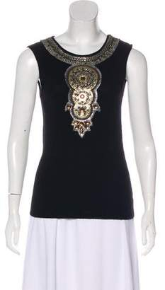 Tory Burch Embellished Cashmere Top