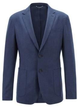 BOSS Hugo Slim-fit blazer in washable virgin-wool flannel 40R Dark Blue