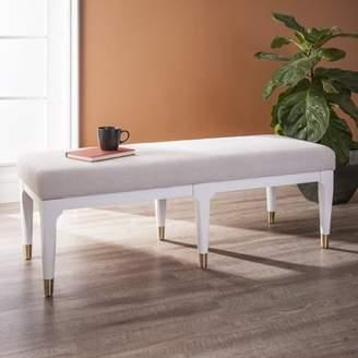Mid-Century MODERN Southern Enterprises Heterias Upholstered Bench, Midcentury Modern, White