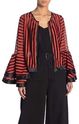 Gracia Crochet Stripe Bell Sleeve Zip Front Top