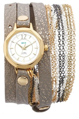 Women's La Mer Collections Del Mar Leather & Chain Wrap Strap Watch, 35Mm $120 thestylecure.com