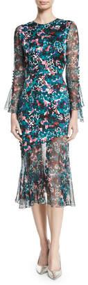 Prabal Gurung Jewel-Neck Ruffle-Sleeve Floral-Print Dress