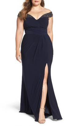 Plus Size Women's Xscape Embellished Off The Shoulder Gown $239 thestylecure.com