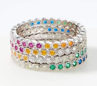 Diamonique Multi-Color Set of 4 Eternity Rings, Sterling Silver